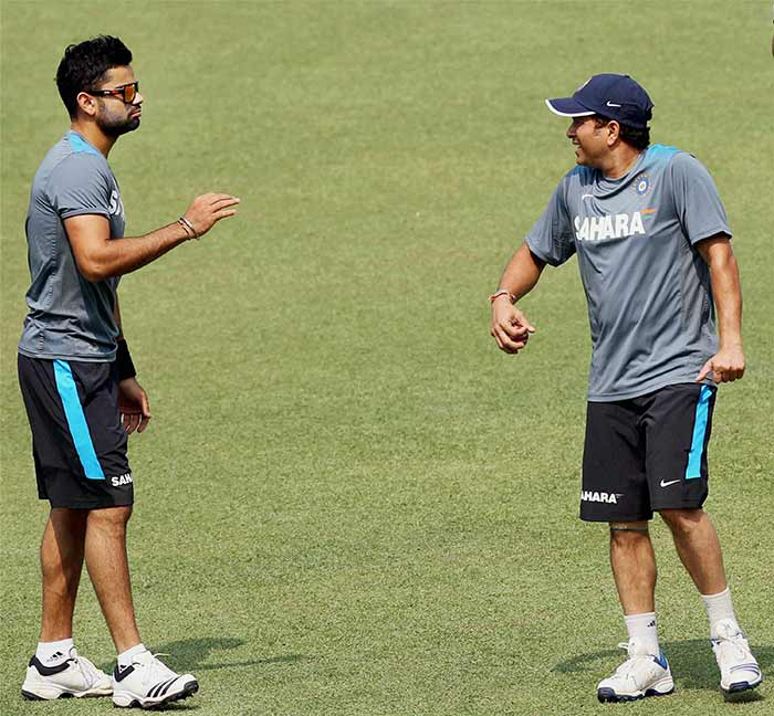 Sachin shares a light moment with Virat Kohli ahead of the first Test against West Indies starting Wednesday at the Eden Gardens, Kolkata. Many pundits feel run-machine Virat Kohli, who recently topped the ODI rankings, has it in him to go past Sachin's limited overs records.