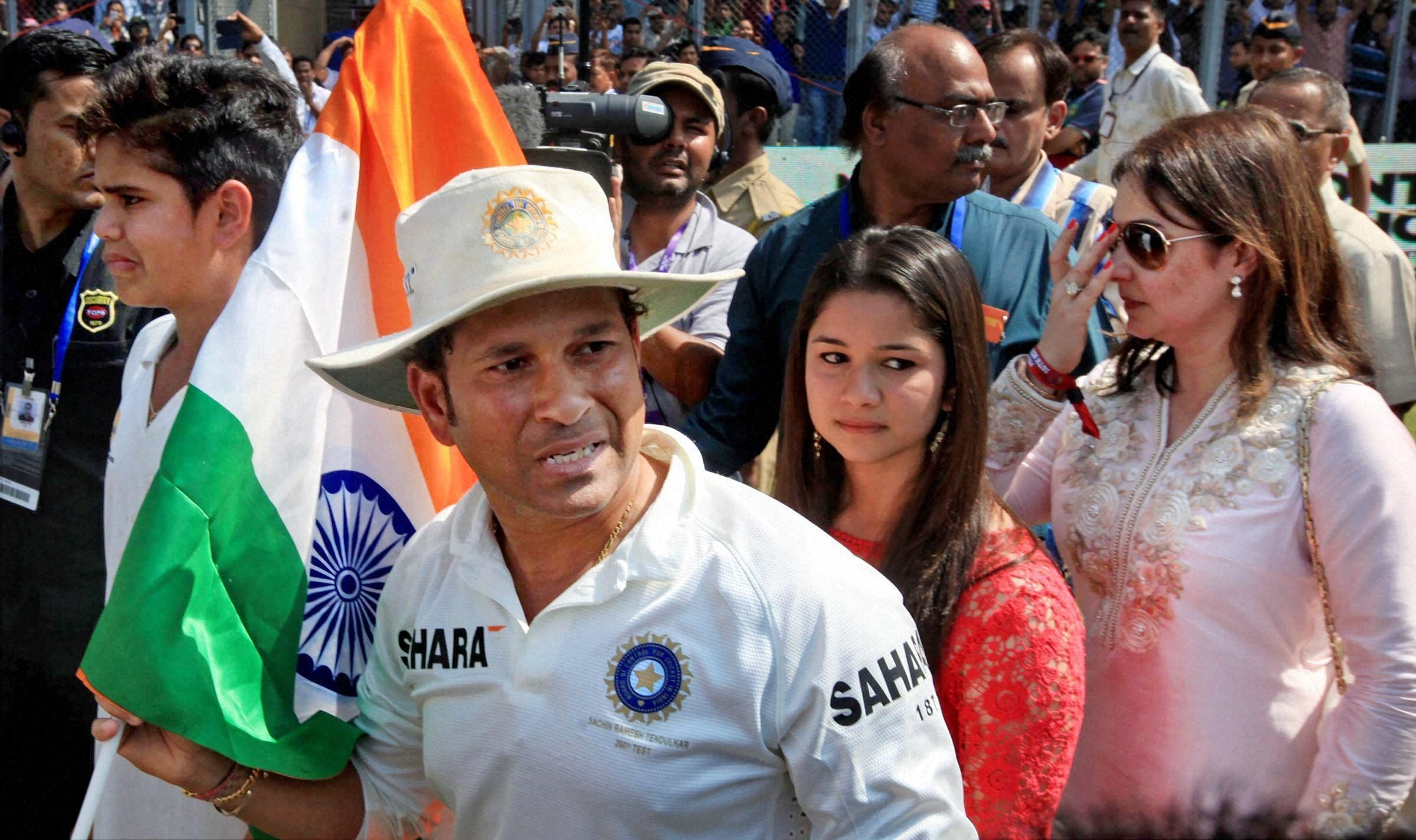 Sachin Tendulkar is seen with his family here during the post-match ceremony.