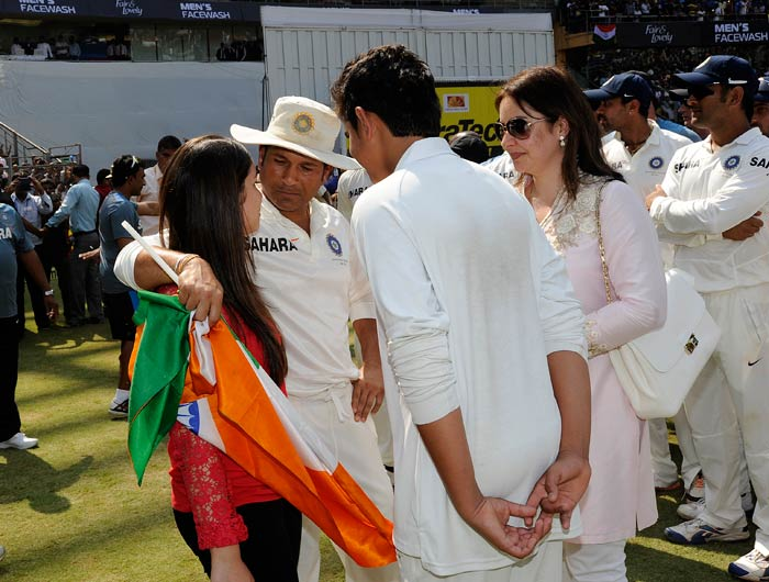 """Sachin, in his farewell speech, thanked his children - Sara and Arjun - for understanding his busy cricketing schedule. <br><br>""""I wanted to spend so much time with Sara and Arjun on their birthdays, annual days, sports days. I missed out on all of these. Thanks for understanding. For 14 and 16 years, I did not spend enough time. I promise you, I will make it up."""""""