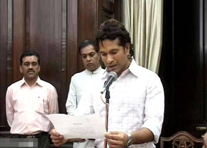 Master blaster Sachin Tendulkar has taken oath as a member of the Rajya Sabha in the chamber of Chairman Dr Hamid Ansari.