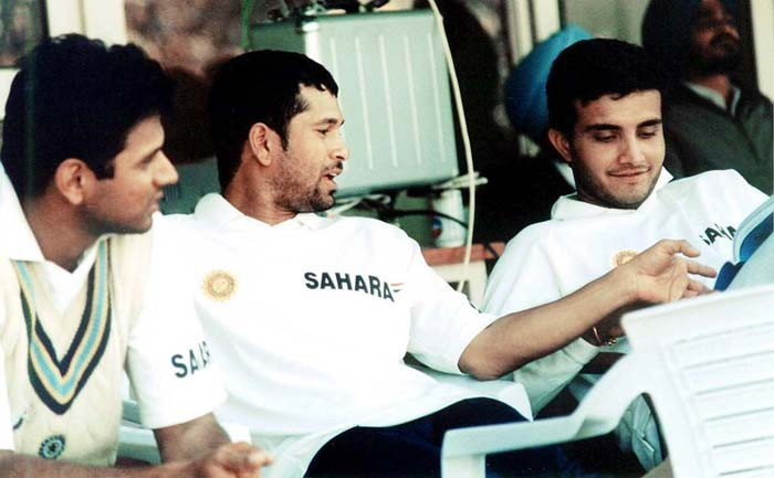 Sachin Tendulkar along with teammates Rahul Dravid and Sourav Ganguly in the late 1990s when the three of them were fulcrum of India's batting. (Image courtesy Mid-Day.com)