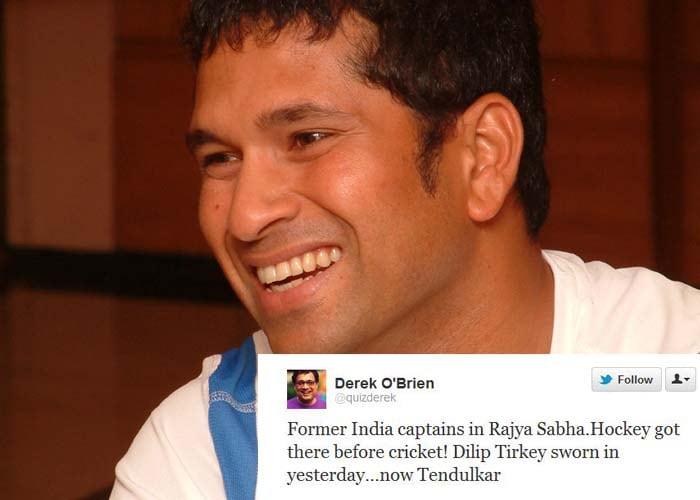 <b>Derek O'Brien</b>: Former India captains in Rajya Sabha.Hockey got there before cricket! Dilip Tirkey sworn in yesterday...now Tendulkar