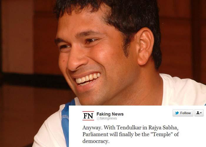 "<b>Faking news</b>: Anyway. With Tendulkar in Rajya Sabha, ""Parliament"" will finally be the temple of democracy."