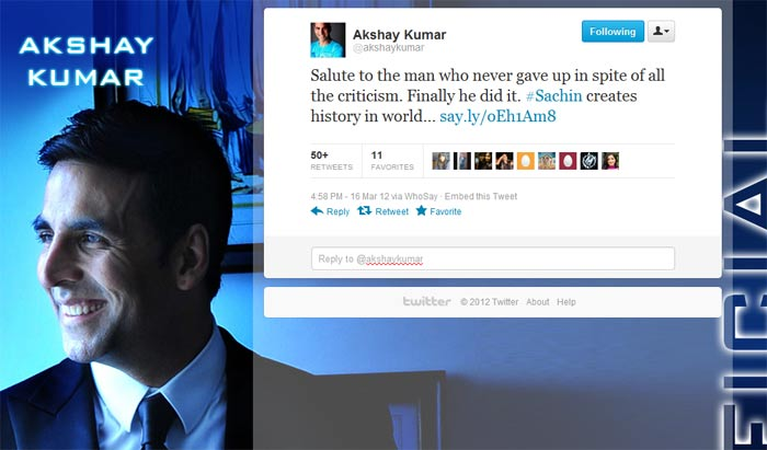 <b>Akshay Kumar</B>: Salute to the man who never gave up in spite of all the criticism. Finally he did it. #Sachin creates history in world…