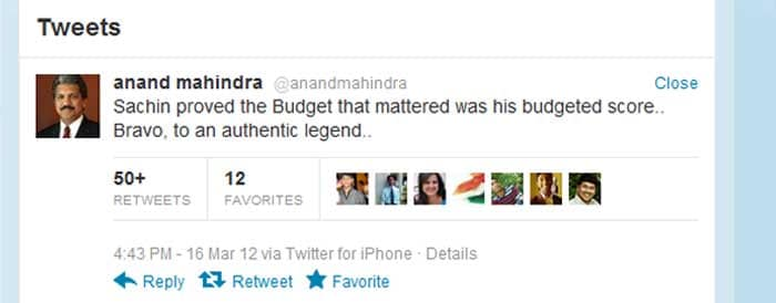 <b>Anand Mahindra</b>: Sachin proved the Budget that mattered was his budgeted score.. Bravo, to an authentic legend..
