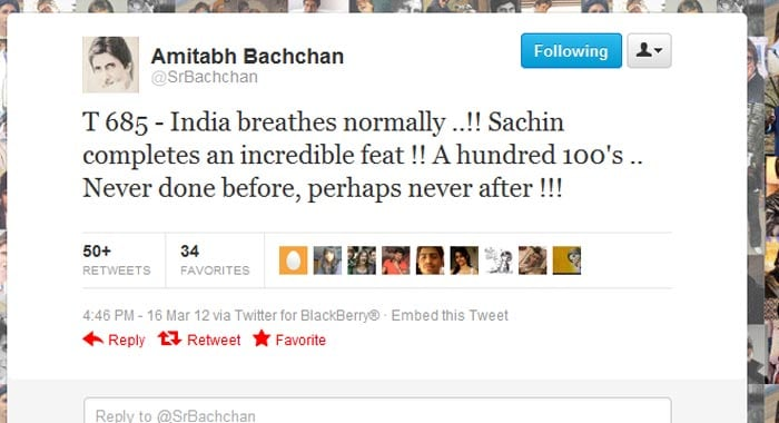 <b>Amitabh Bachchan</b>: India breathes normally ..!! Sachin completes an incredible feat !! A hundred 100's .. Never done before, perhaps never after !!!<br><br>T 685 - A lion does not concern himself with the opinions of the sheep ..<br><br>T 685 - God's special creation .. Sachin Tendulkar !!