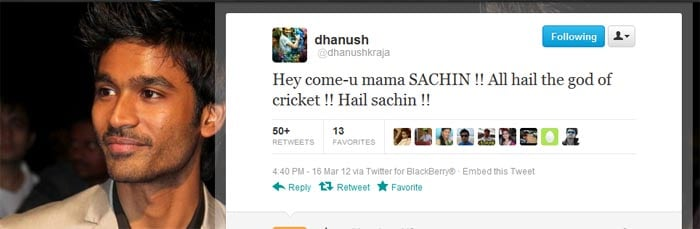<b>Dhanush</b>: Hey come-u mama SACHIN !! All hail the god of cricket !! Hail sachin !!