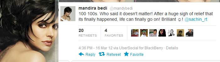 <b>Mandira Bedi</b>: 100 100s. Who said it doesn't matter! After a huge sigh of relief that its finally happened, life can finally go on! Brilliant ?! @sachin_rt <br><br>Cricket history.. The subject of numerous cricket trivia questions in the years to come! :) :)<br><br>Sachins weighing scale must've gone beserk becoz he's suddenly become the 100 ton man!! :D :D