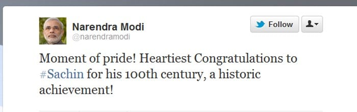 <b>Narendra Modi</b>: Moment of pride! Heartiest Congratulations to #Sachin for his 100th century, a historic achievement!