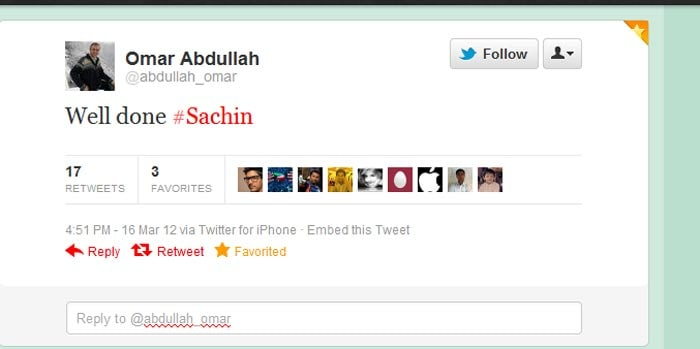 <b>Omar Abdullah</B>: Well done #Sachin