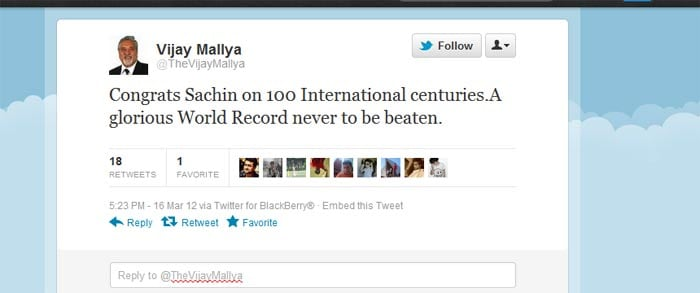 <b>Vijay Mallya</b>: Congrats Sachin on 100 International centuries.A glorious World Record never to be beaten.