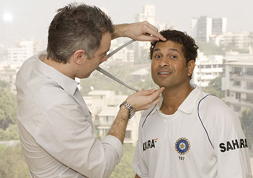 Sachin Tendulkar gives measurements for his wax statue, to be installed at the world famous Madam Tussauds Museum, in London.