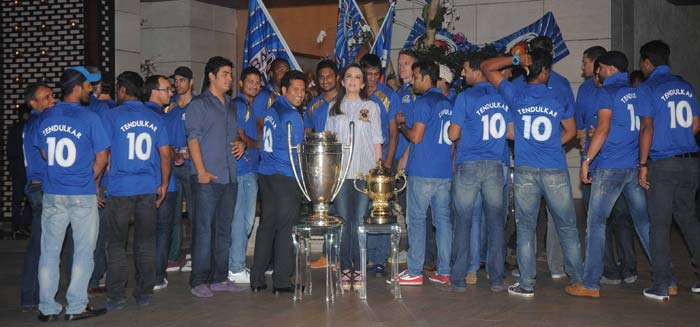Prior to the tournament, Mumbai Indians started the official hashtag #ThisTimeFor10dulkar. Three weeks later the franchise lived up to their word. Photo credit: Santosh Nagwekar