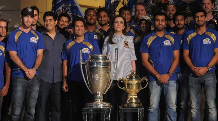 The entire Mumbai squad gathered at the residence of team owner Nita Ambani to celebrate their second CLT20 title. Photo credit: Santosh Nagwekar