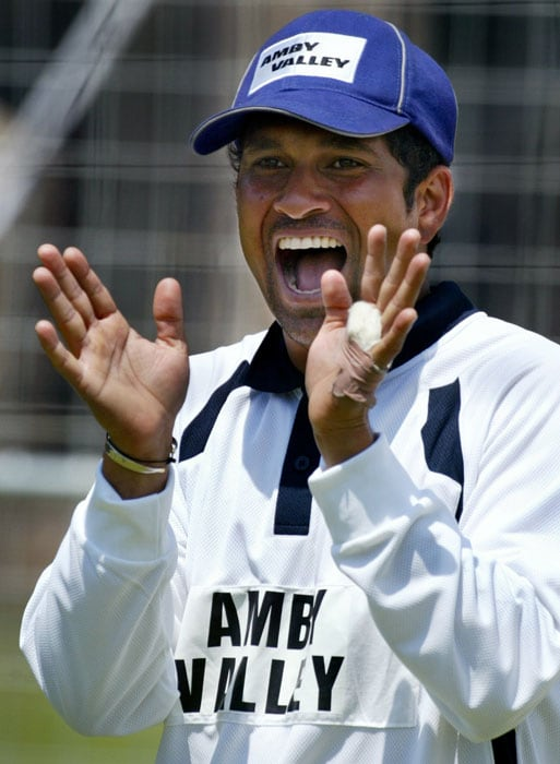 <b>Elation is the new me.</b><br><br>Sachin is absolutely delighted in the nets. (AFP Photo)