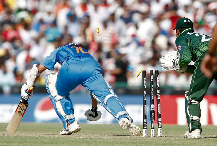 On 23, Tendulkar survived a close stumping call as he managed to put his foot down just as Kamran Akmal took off the bails after the master blaster was foxed by Saeed Ajmal. (Getty Images)