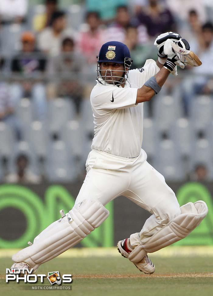 Coming out to bat on an overnight score of 67, Sachin lashed out against West Indies from the beginning. 37 runs to his 100th ton looked like being scored in a jiffy.