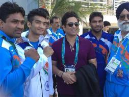 Sachin Tendulkar Meets Indian Athletes At Olympic Village
