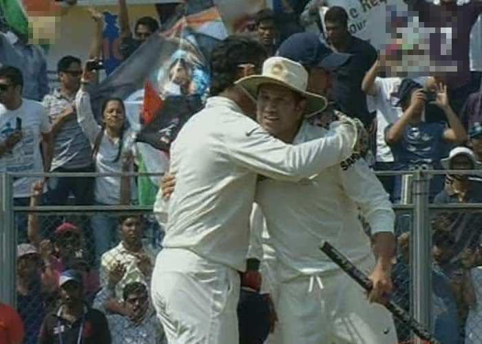 India skipper MS Dhoni is seen hugging the legend after the fall of the final West Indies wicket. <br><br>India had won the series 2-0 but that was just detail, for a change.