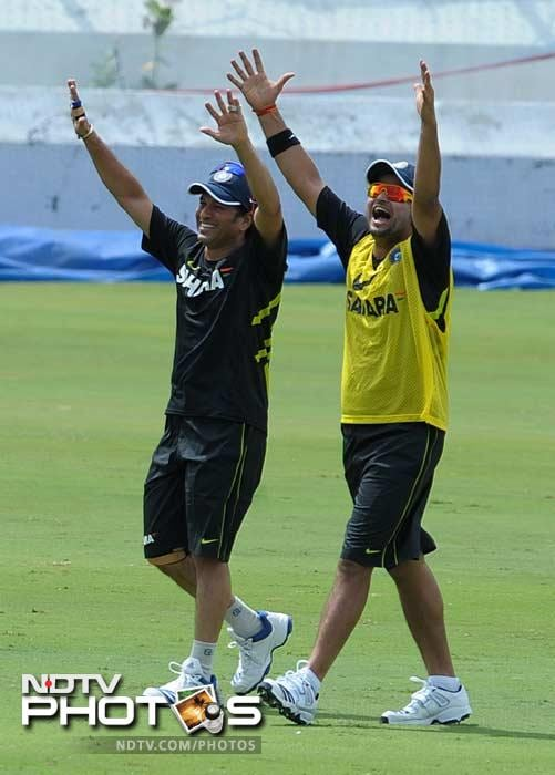 This is also part of the training:<br><br> Sachin Tendulkar is seen here with Suresh Raina in what most probably is a stretching exercise.