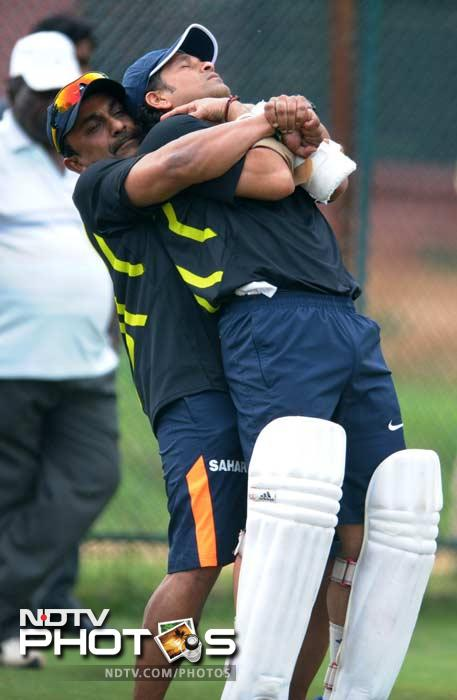 Watch it! Prized property of the nation:<br><br> Sachin receives treatment again. These are usual part of a training session.
