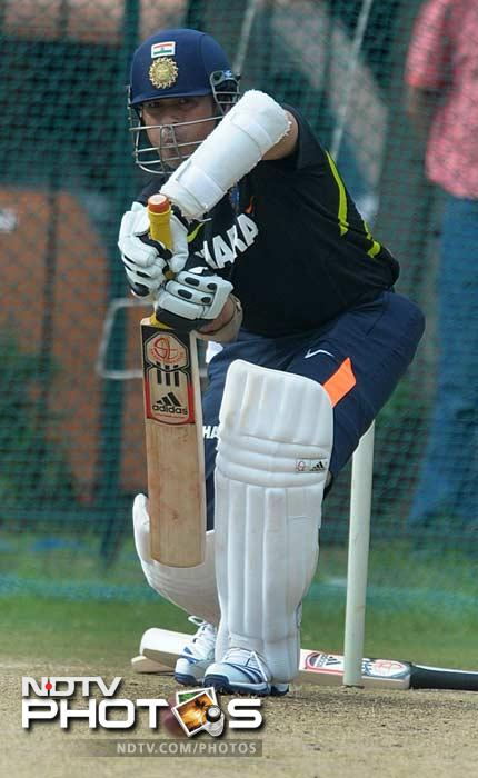 Time for what he does best:<br><br> Sachin got around to knocking the ball in the nets in no time.
