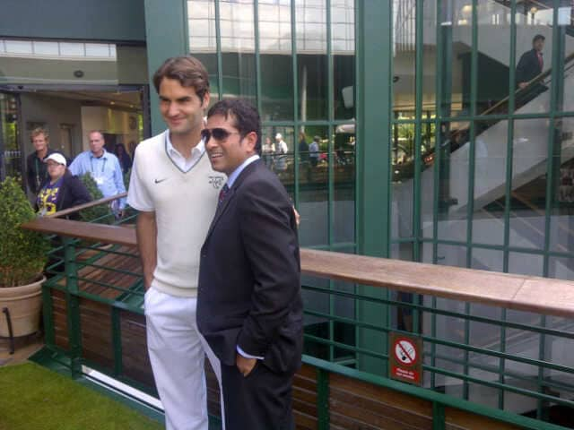 The cricketer recently posted this picture of him and the 16 Grand Slam title winner on his Twitter account.