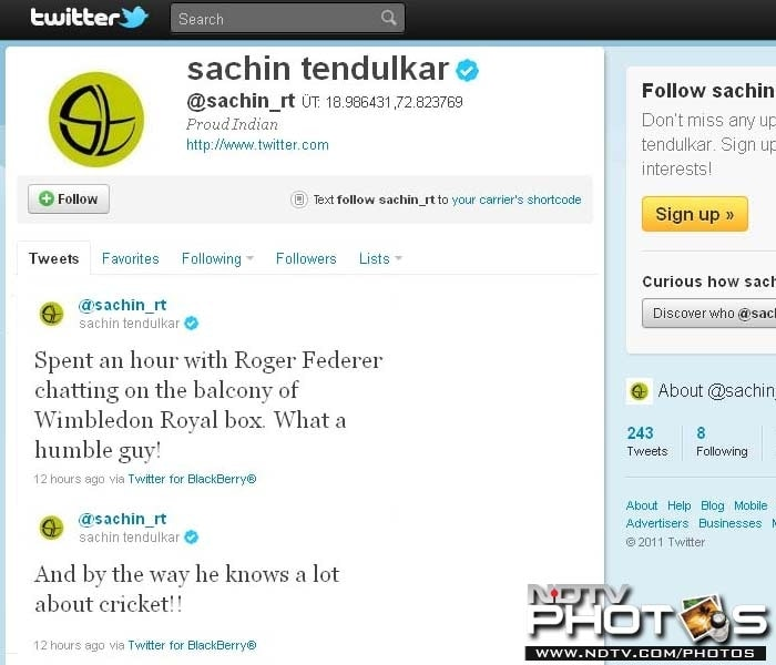 The master-blaster was active on his twitter account afterwards and appreciated Federer for his humility.