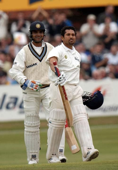 <b>April 24, 1989-April 24, 2003:</b><br><br> 105 Tests - 8811 runs, Highest - 217, 31 centuries<br> Proves to be just an okay year by his standards as Tendulkar falls short of 1000 runs for the year despite playing 12 Tests, but the maestro nevertheless achieves many feats. On May 21, 2002, Tendulkar becomes only the tenth player to reach 8,000 Test runs during his knock of 86 against the West Indies at Kingston. He follows this landmark with another milestone, hitting 193 against England at Leeds on August 23, 2002. This is his 30th century, which helps him overtake Bradman's 29 hundreds. On September 5, 2002, Tendulkar makes his 100th Test appearance for India, playing against England at The Oval. <br><br> 314 ODIs - 12219 runs, Highest - 186*, 34 centuries, Wickets - 112<br> Makes 673 runs in 11 matches in the ICC World Cup - most by any batsman in a single World Cup that wins him the player of the tournament award and guides India to the final. During the tournament, he also scores his 12,000th ODI run, while playing against Pakistan in the group match at Centurion on March 1, 2003.