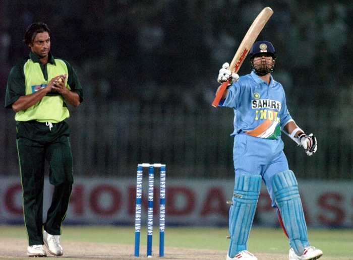 <b>Year 2005, 72nd Century:</b> Sachin's next century came again against Pakistan. Although this century came after a gap of more than a year on April 12, 2005 at Sardar Patel Stadium in Motera, Sachin's 123 could not win the match for India who had another defeat to Pakistan on their records. (AP Photo)