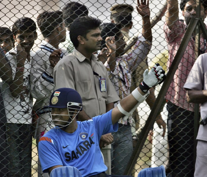 <b>Year 2007, 76th Century:</b> On January 31, 2007, Sachin scored an unbeaten 100 to establish his 41st century. Playing at IPCL Sports Complex Ground in Vadodara against West Indies, Sachin scored at an impressive strike rate of 131.57 leading India to victory. (AP Photo)