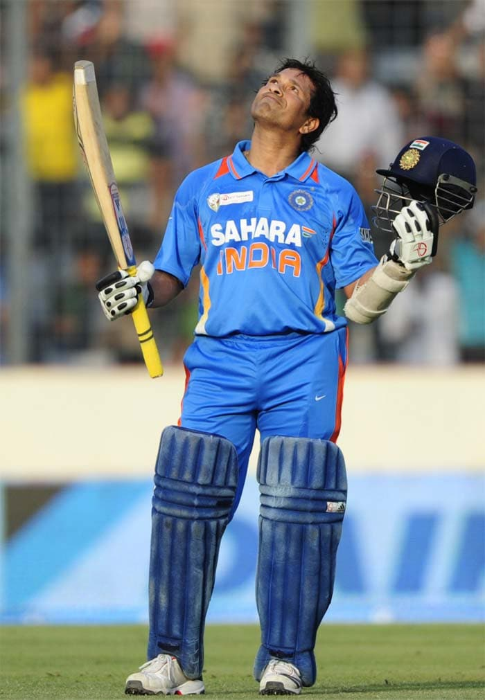 <b>100th century, March 16, 2012:</b> Sachin Tendulkar completed the much-awaited 100th international hundred of his career during the fourth ODI of the Asia Cup against Bangladesh.<br><br> He became the first batsman in the history of cricket to achieve this feat. Sachin, with 51 Test tons, has taken his tally of ODI centuries to 49 with this hundred.<br><br>Sachin scored a century after 33 innings. His last international century had come on March 12, 2011 against South Africa during the ICC World Cup. He took 138 deliveries and hit 10 boundaries and a six to get his hundred. This is also his first ever ODI century against Bangladesh.