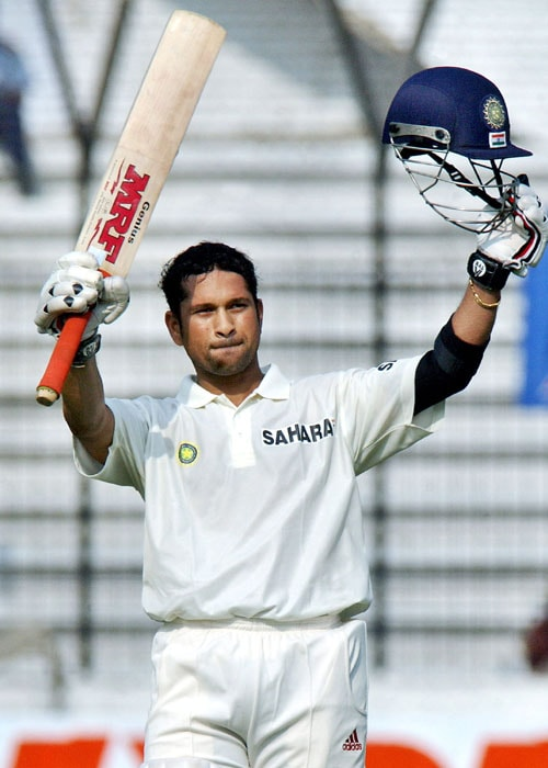 <b>Year 2004, 71st Century:</b> Nine months later he finally got his fourth double ton when he slammed an unbeaten 248 runs against Bangladesh during the first Test in Dhaka. He celebrated his double ton with another milestone as he equalled Sunil Gavaskar's Test record of 34 centuries. It was indeed a proud moment for the two Little Masters, who are great admirers of each other.