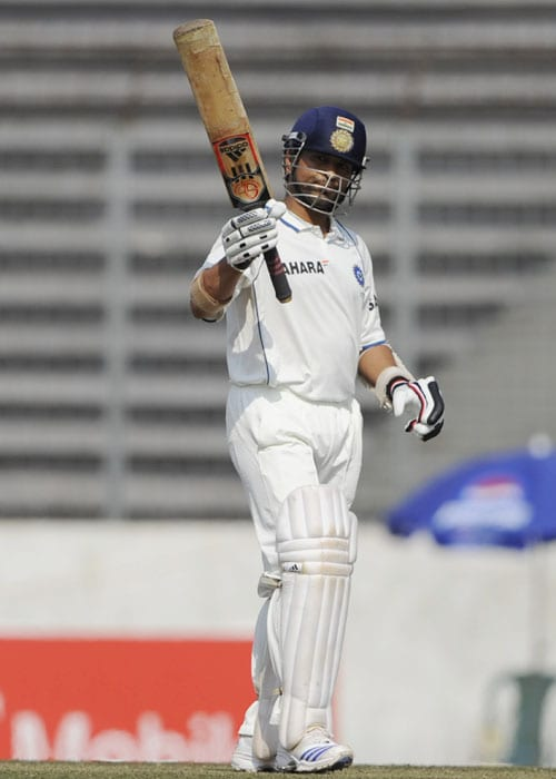 <b>Year 2010, 89th Century:</b> The master batsman started the new year with another century. Though against the minnows, his 44th century came under testing circumstances. India, who played their first Test of the year against Bangladesh in January, were heavily let down by their batsmen in the first innings in Chittagong. Out of 243 runs, Sachin scored 105 and saved India blushes. While wickets were tumbling from one end, Sachin at the other end dig deep and kept the battle on. He was adjudged 'man of the match' for his fighting knock.