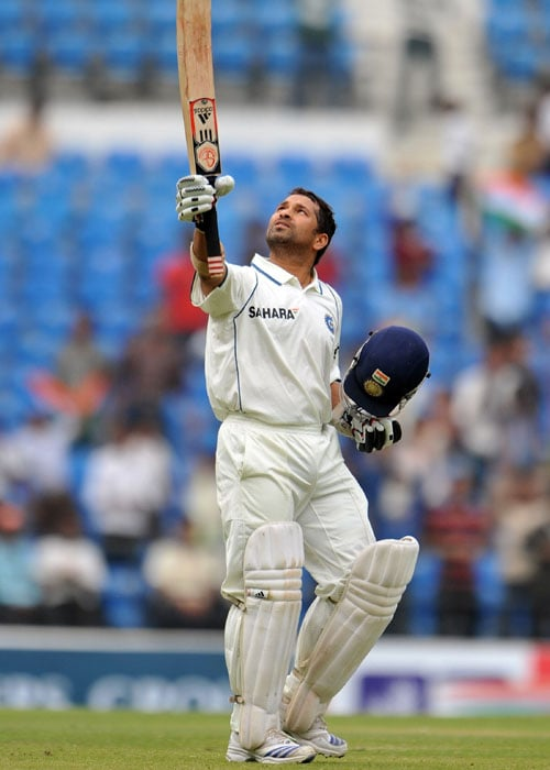 <b>Year 2010, 91st Century:</b> Sachin slammed 46th hundred of his Test career on the fourth day of the first Test against South Africa in Nagpur.<br><br> His fourth century against the Proteas was also his first at home against them.<br><br> In reply to South Africa's 558 runs, India were bundled out for 233 runs. South Africa enforced follow-on and picked top four wickets. Sachin rose to the occasion and hit his 46th ton. Unfortunately, his resistance ended soon after his ton as Paul Harris deceived him with his spin for 100 runs. However his ton went in vain as India slumped to an embarrassing defeat by an innings and six runs.