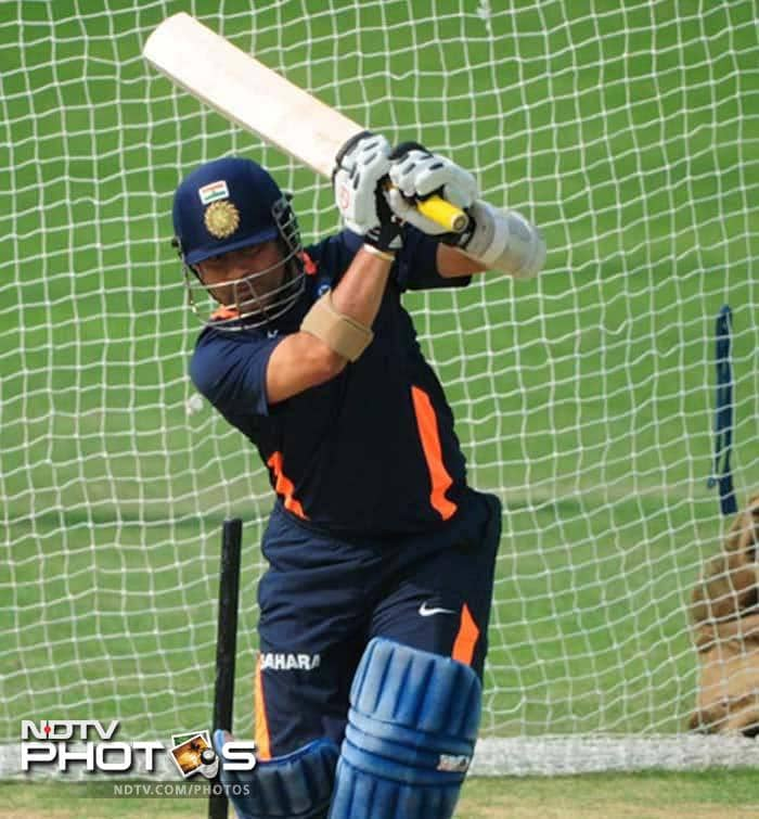 The wait for his 100th international century continues and while he may be under pressure due to the milestone, Tendulkar hardly showed any anxiety in the training session.