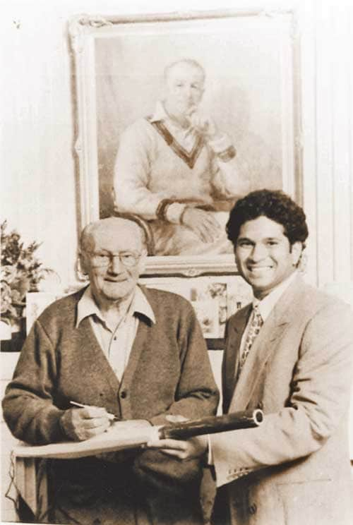 "With Sir Don Bradman in August, 1998 at the great Australian's home in Adelaide. The visit was part of Sir Don's 90th birthday celebrations. <br><br><a href=""http://www.mid-day.com/"" class=""fn fl""><span class=""fr""><b>(Courtesy: Mid-Day.com)</b></span></a>"