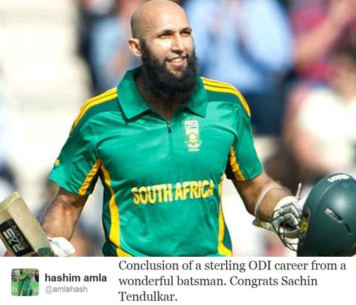 <b>Hashim Amla:</b> Conclusion of a sterling ODI career from a wonderful batsman. Congrats Sachin Tendulkar.