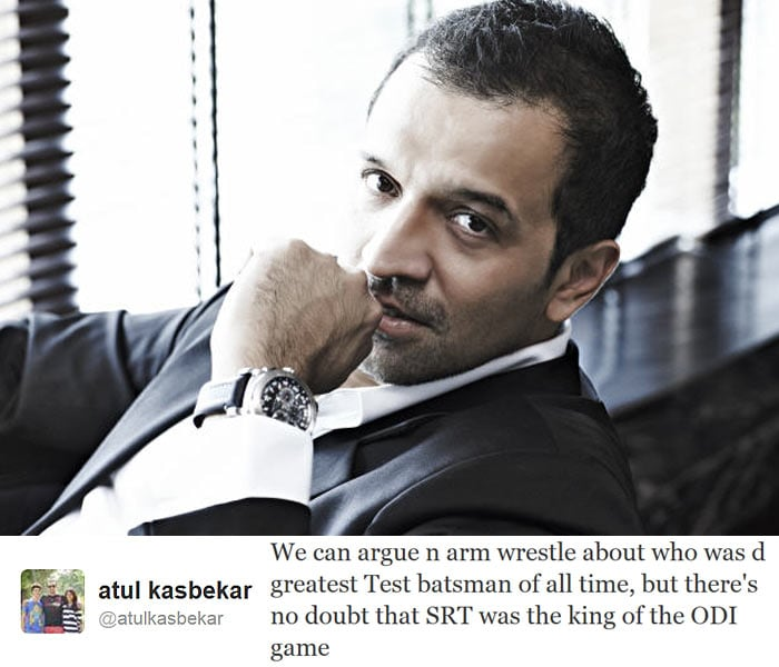 <b>Atul Kasbekar:</b> We can argue n arm wrestle about who was d greatest Test batsman of all time, but there's no doubt that SRT was the king of the ODI game