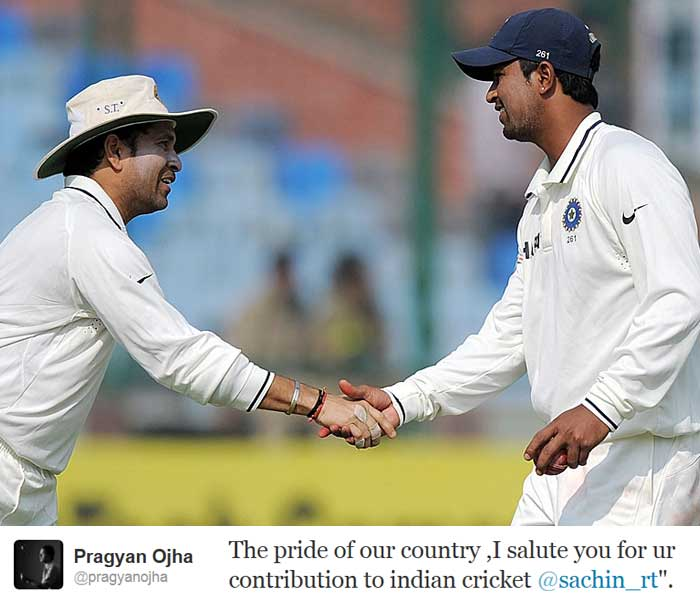 "Indian spinner <b>Pragyan Ojha</b> reiterated the sentiments of a billion countrymen: ""The pride of our country ,I salute you for ur contribution to indian cricket @sachin_rt""."""