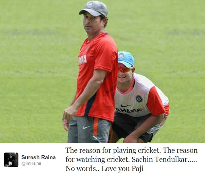 "Indian cricketer <b>Suresh Raina</b> also paid his tribute to the Master: ""The reason for playing cricket. The reason for watching cricket. Sachin Tendulkar..... No words.. Love you Paji"""
