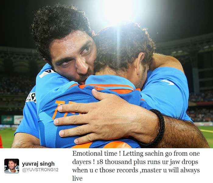 "Teammate <b>Yuvraj Singh</b>, who shared dressing room with him for 12 years, tweeted: ""Emotional time ! Letting sachin go from one dayers ! 18 thousand plus runs ur jaw drops when u c those records ,master u will always live"""