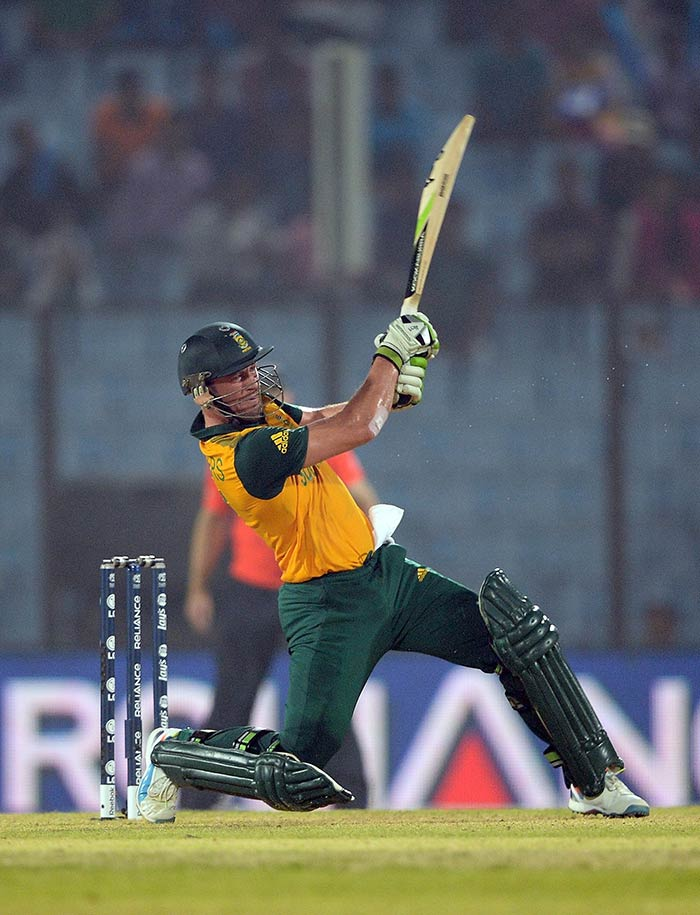 Stand-in skipper AB de Villiers led from the front as his 69 off 28 balls helped secure a semifinal spot for South Africa. (All images AFP)