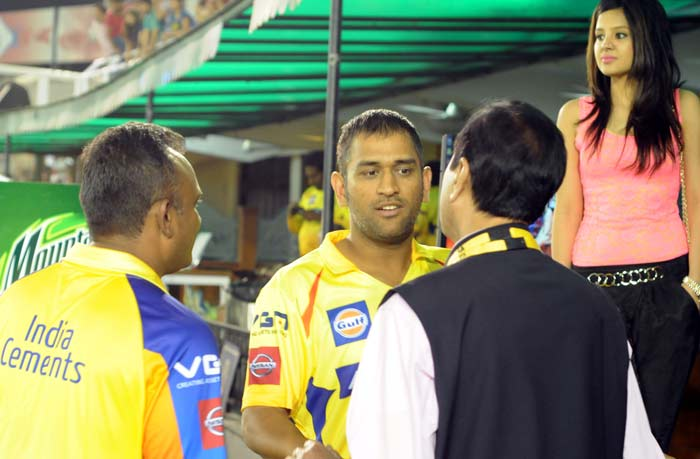 As husband Dhoni attends to serious aspects of his game, Sakshi seems to wait patiently by his side. (BCCI image)