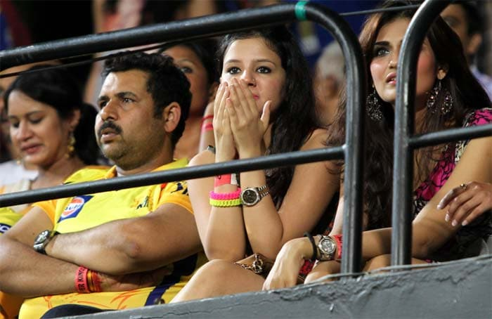 Sure there were some tense moments but Sakshi looked very pleased with the eventual result as her husband's team went up to take the top-spot in the points table. (BCCI image)