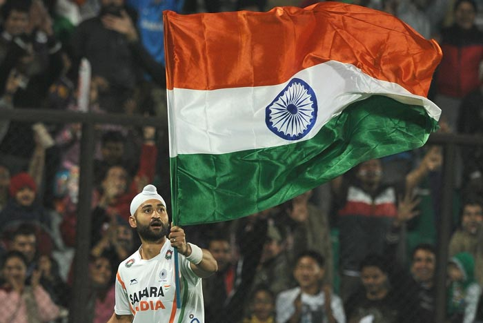 Sandeep Singh, who top scored in India's 8-1 win over France on Sunday with 5 goals in the final of the London Olympics men's hockey qualifiers, celebrates his 27th birthday today. (AFP Photo)