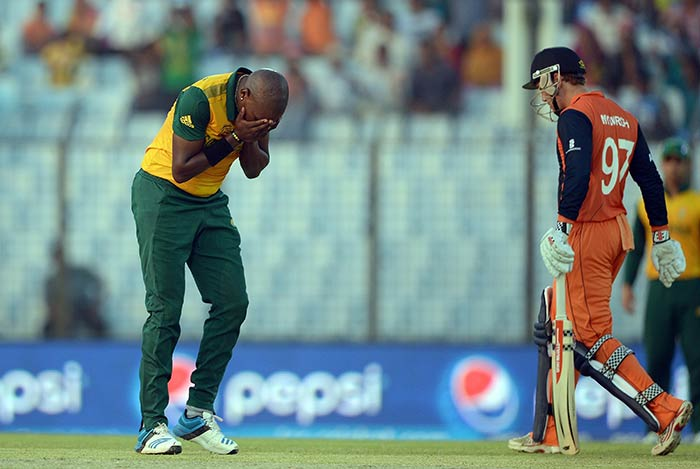 The South African bowlers had no answer to Myburgh's initial onslaught as he raced away to his third T20I fifty off just 25 balls.