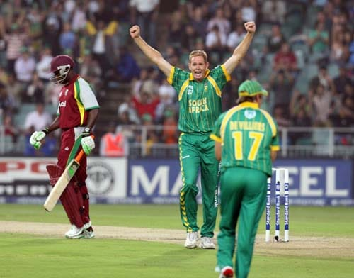 Shaun Pollock celebrates after team-mate AB Devilliers caught out Rawl Lewis at The Wanderers cricket ground in Johannesburg during the Pro20 match on Friday, January 18, 2008.