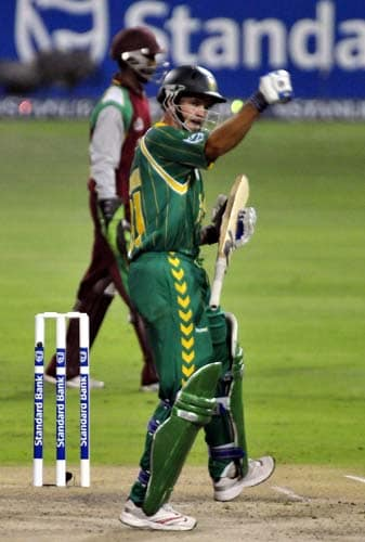 Albie Morkel punches the air as he hits the winning runs for South Africa during their first Pro 20 international against West Indies in Johannesburg, Friday on January 18, 2008.