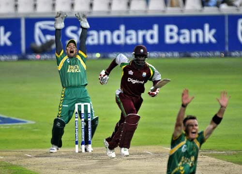 Mark Boucher, left, appeals the wicket of Dwayne Bravo, during their first Pro 20 international in Johannesburg on Friday, January 18, 2008.